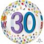 30th Birthday Shaped Balloons 38cm x 40cm Clear Rainbow Confetti Happy 30th Birthday Orbz