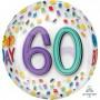 60th Birthday Shaped Balloons 38cm x 40cm Rainbow Confetti Happy 60th Birthday Orbz