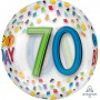 Orbz XL Clear 70th Birthday Rainbow Birthday Shaped Balloon 38cm x 40cm