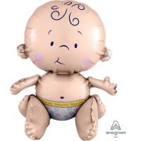Baby Shower - General CI: Multi Balloon Sitting Baby Shaped Balloon 33cm x 38cm