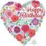 Heart Happy Birthday Floral Print Standard HX Shaped Balloon 45cm