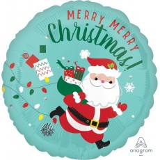 Round Standard HX Running Santa Merry Merry Christmas Foil Balloon 45cm
