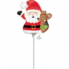 Christmas Party Decorations - Shaped Balloon Mini Santa & Reindeer