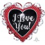 Heart SuperShape Intricates White Dots I Love You Shaped Balloon 53cm x 58cm