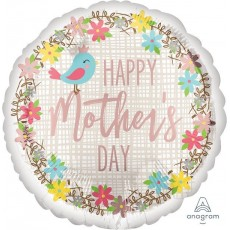Mother's Day Foil Balloons 45cm Pretty Bird & Flowers Happy Mother's Day Round
