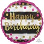 Happy Birthday Foil Balloons 45cm Pink & Gold Round