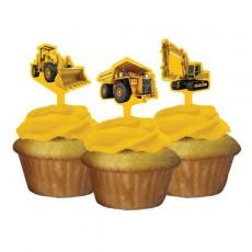 Under Construction Cake Picks Pack of 12