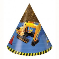 Under Construction Party Hats Pack of 8