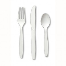 White Plastic Cutlery Sets Pack of 24