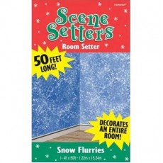 Christmas Snow Flurries Room Roll Scene Setter 120cm x 12m Roll