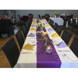 Lavender and yellow dinner napkins