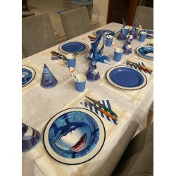 Shark Splash Tableware - Party Hats, Plates