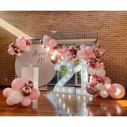 Pink & Metallic Rose Gold Latex Balloons