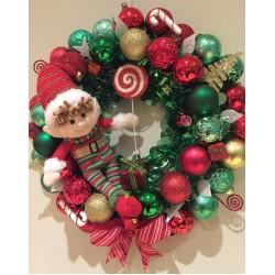 Tinsel Pine Look Christmas Wreath Door Decoration