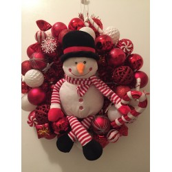 Red Christmas Tinsel Wreath